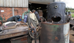 Kent and East Sussex Railway Rolvenden tour 2016 (17) crane boiler
