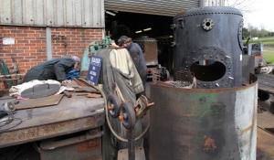Kent and East Sussex Railway Rolvenden tour 2016 (17) crane boiler