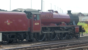 49th Commemoration of The End of Southern Steam 9th July 2016 Railway Touring Company West Coast Eastleigh (19) No. 45699 Ex-LMS BR Crimson Stanier Jubilee 6P class 45699 Galatea