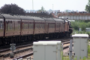49th Commemoration of The End of Southern Steam 9th July 2016 Railway Touring Company West Coast Eastleigh (23) No. 45699 Ex-LMS BR Crimson Stanier Jubilee 6P class 45699 Galatea Campbell Road bridge