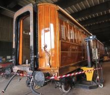 Severn Valley Railway July 2016 Kidderminster Carriage Shop (05) LNER Brake Pigeon Van 70759 converted to brake 3rd corridor 24506
