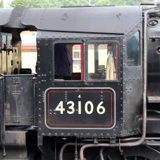 Severn Valley Railway Kidderminster July 2016 Ivatt 4MT 2-6-0 43106 mucky duck (05) cab
